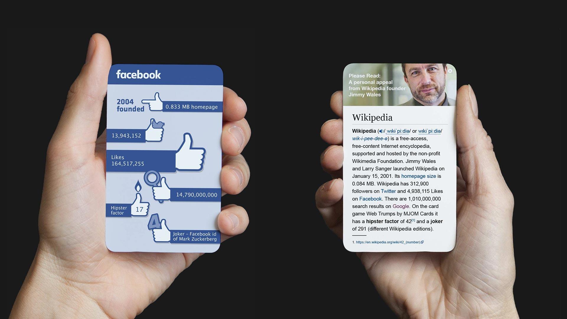 MJOM Cards Web Trumps – Facebook vs. Wikipedia