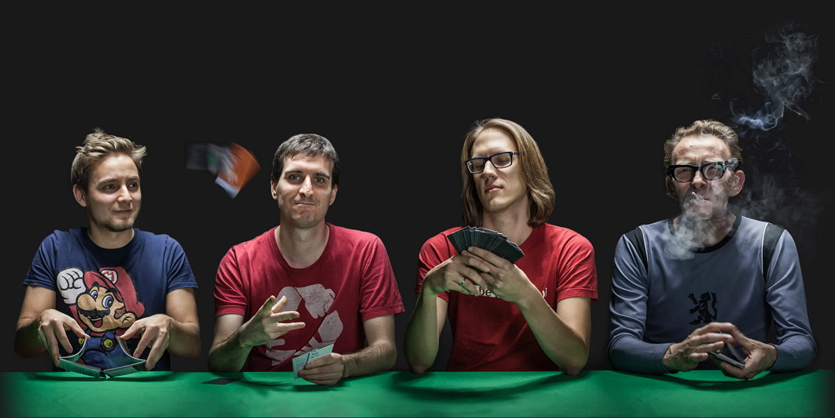 Das MJOM Cards Team: Moritz Kobrna, Johannes Nagl, Oliver Schöndorfer und Michael Holzer
