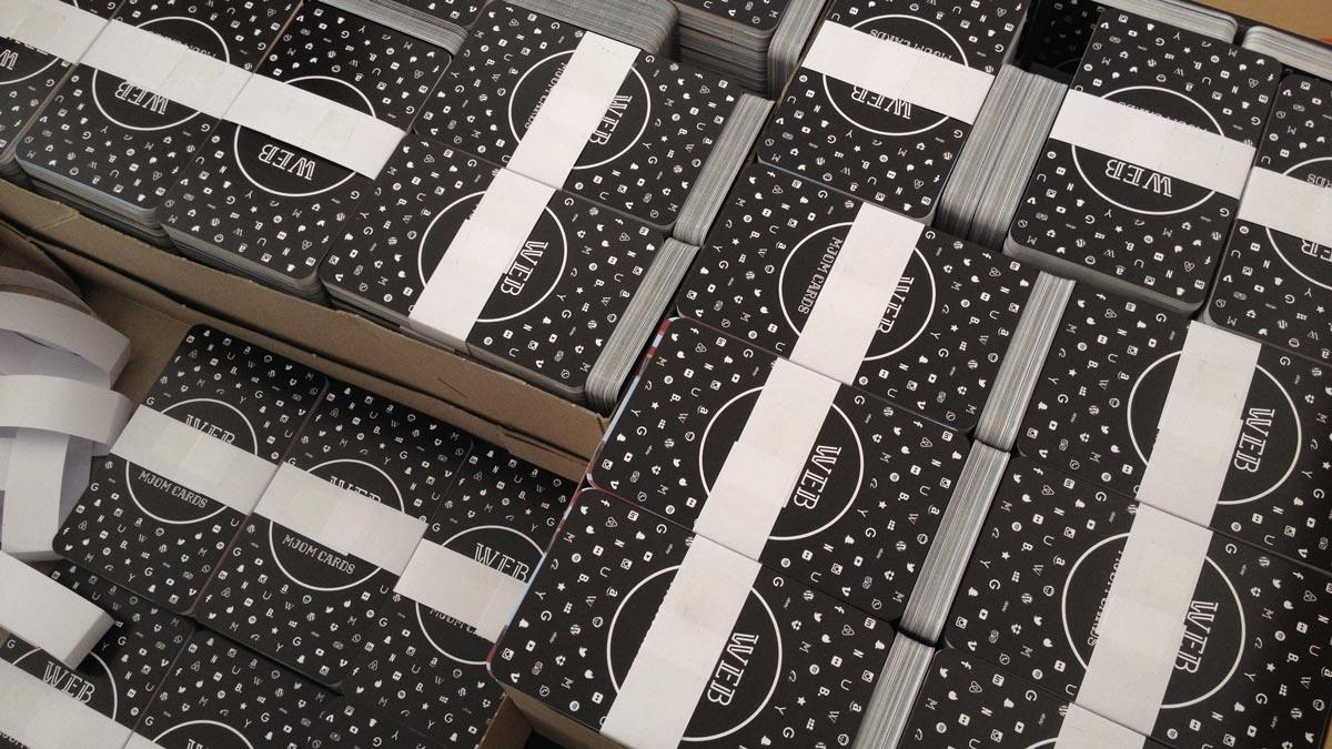 MJOM Cards Web Trumps – Die fertig produzierten Sets vor dem Verpacken