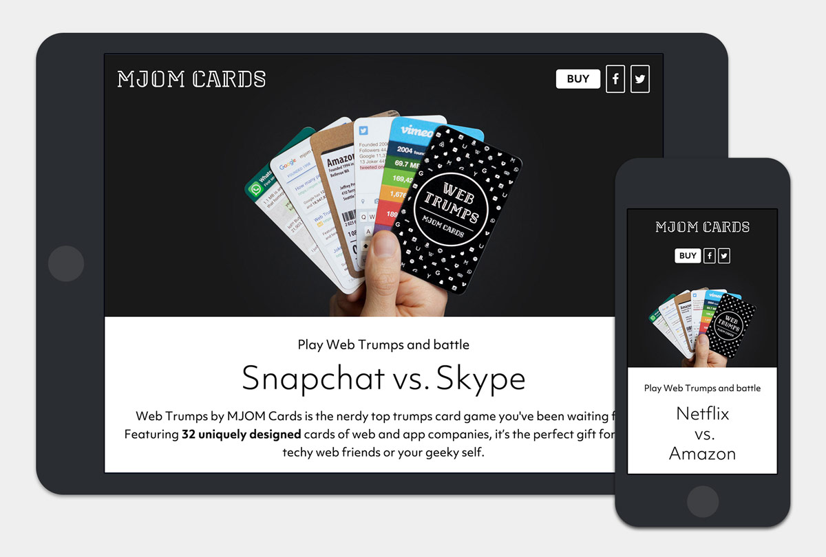 MJOM Cards Web Trumps Responsive Webdesign auf Tablet und Mobile